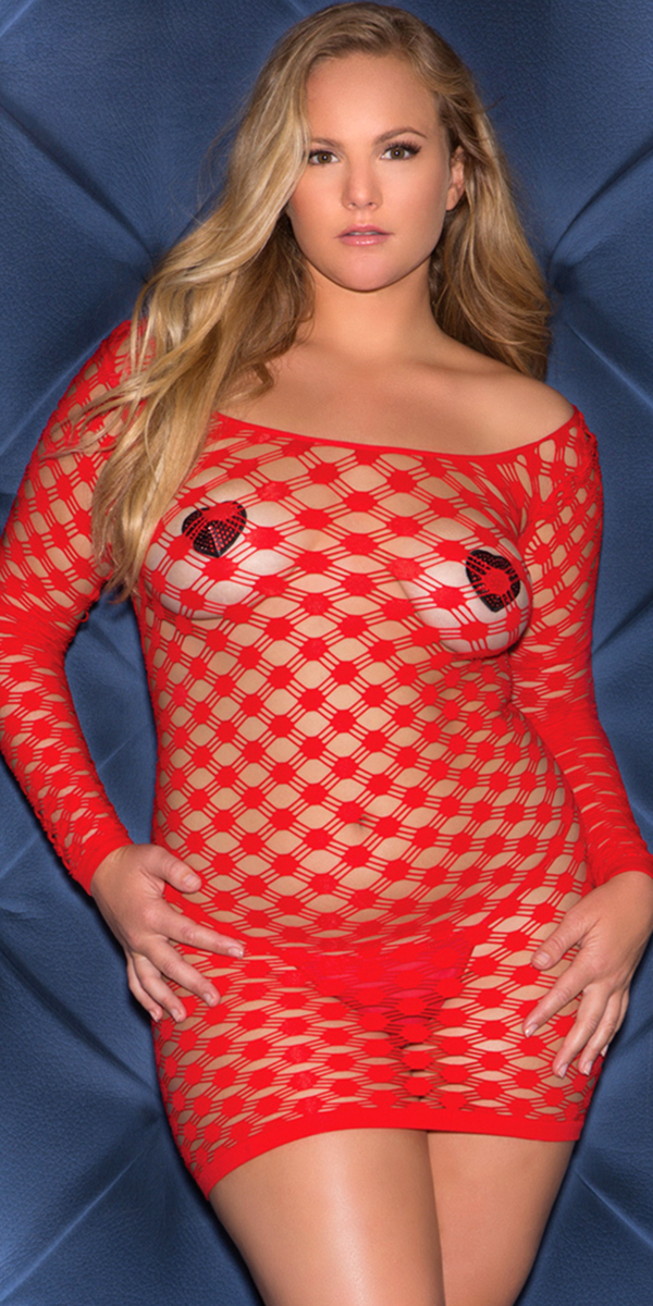 plus size revealing red long sleeve scoop mini dress sexy women's lingerie