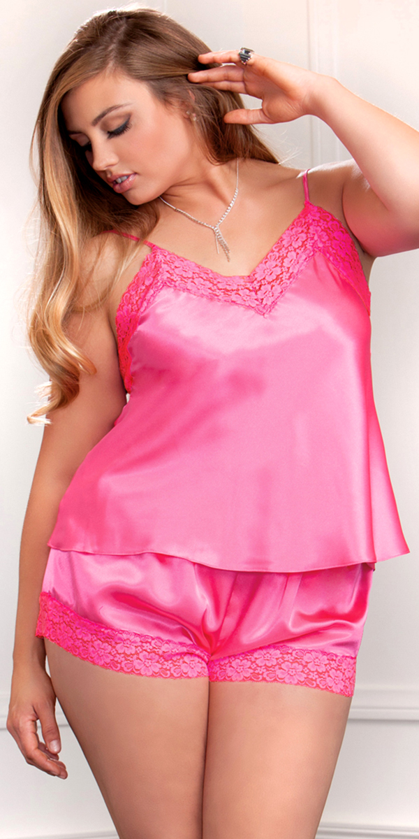 ecfd2954da Plus Size Satin and Lace Cami and Short Set