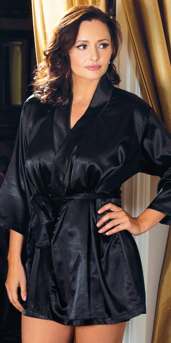 plus size three-quarter sleeve satin robe sexy women's sleepwear