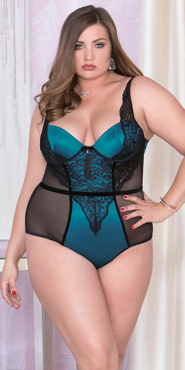 47eedc334f plus size teal and black lace satin teddy sexy women s lingerie