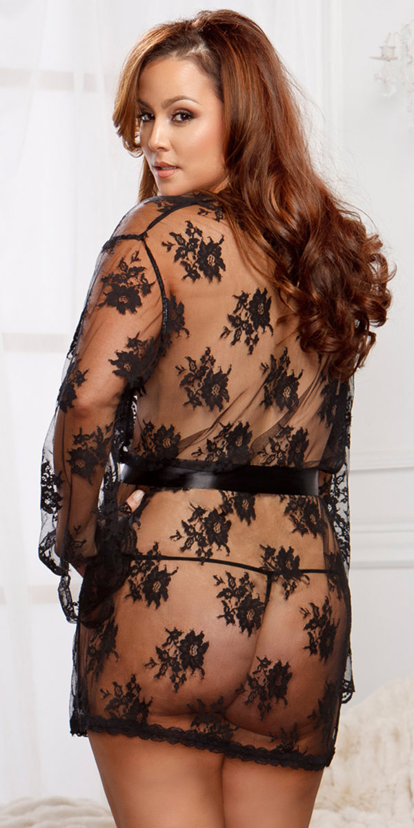 plus size sheer floral lace full sleeve robe sexy women's sleepwear