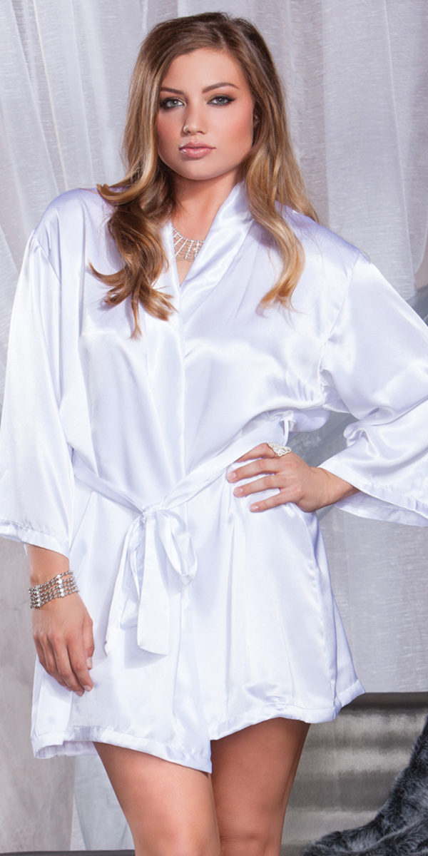 plus size white three-quarter sleeve robe with bride on back sexy women's lingerie
