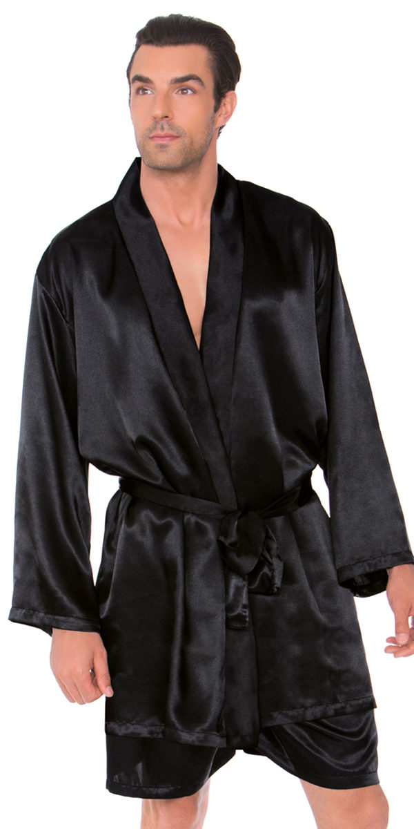 satin robe with matching sash mens's sexy loungewear