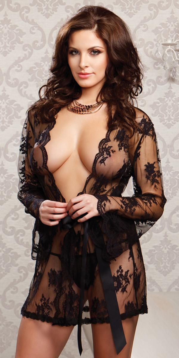 sheer floral lace full sleeve robe sexy women's sleepwear
