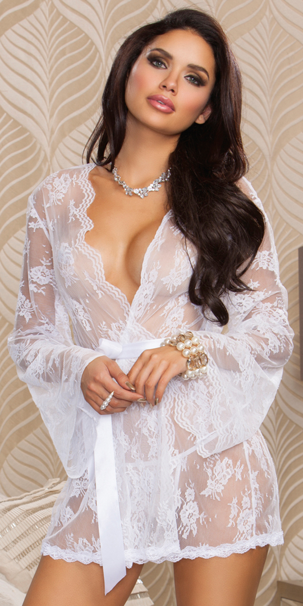 sheer floral lace full sleeve robe sexy women's sleepwear