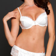 white satin and lace bra set with g-string sexy women's lingerie