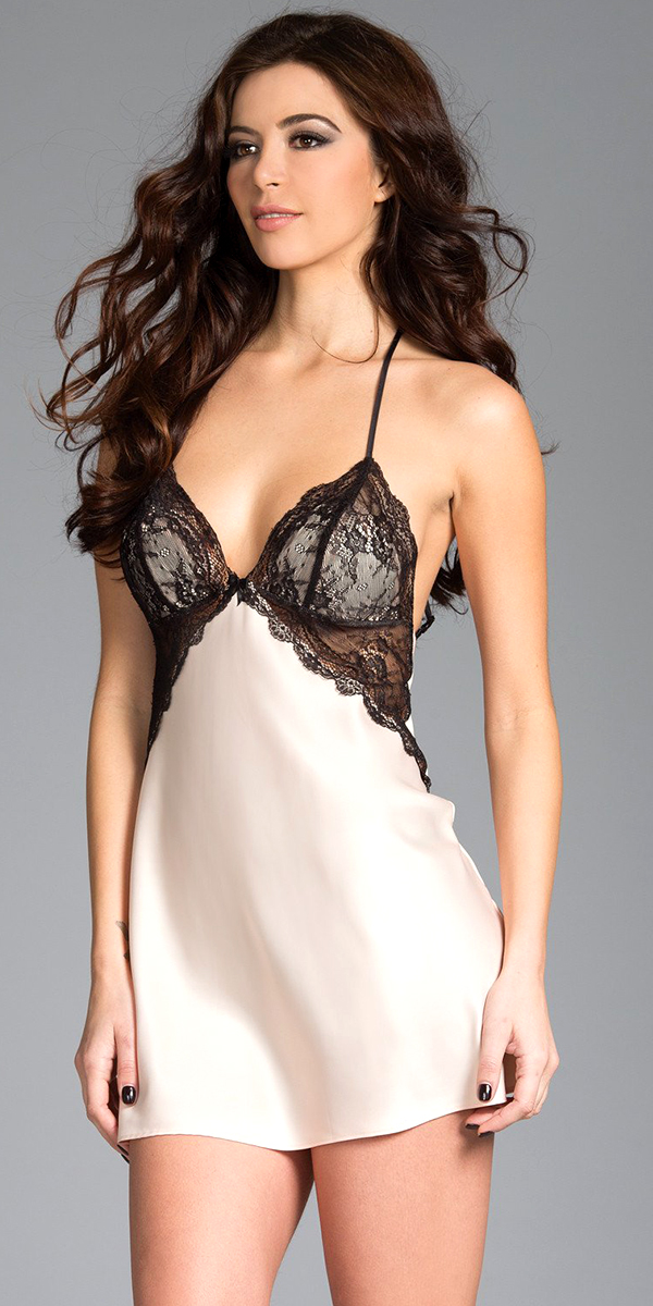 ivory satin chemise with black lace cups sexy women's lingerie