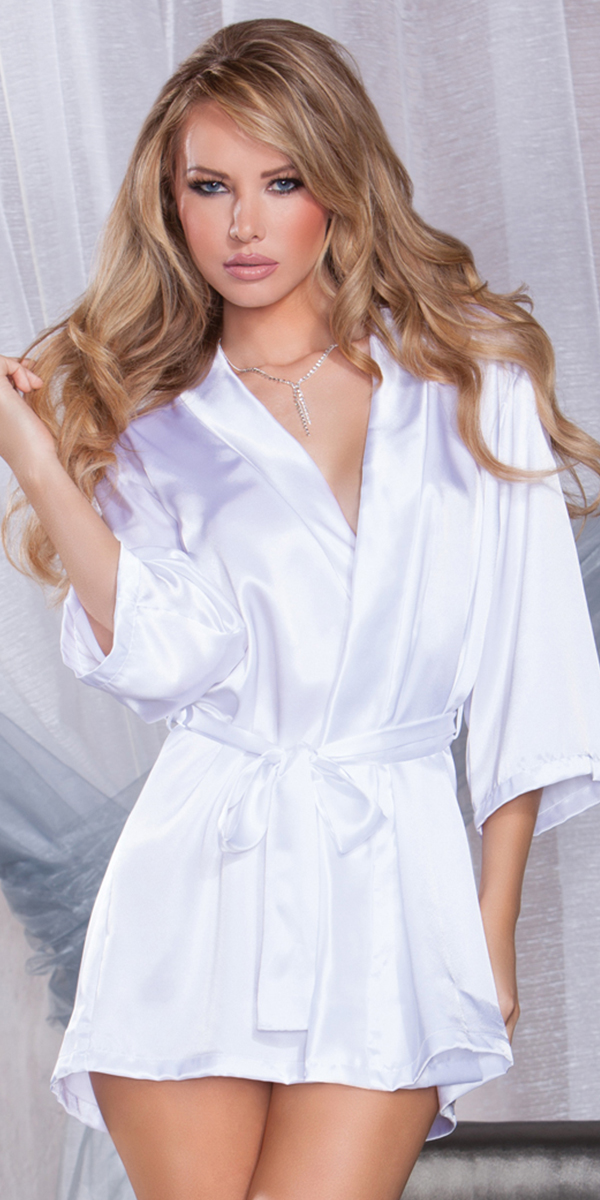 white three-quarter sleeve robe with bride on back sexy women's sleepwear