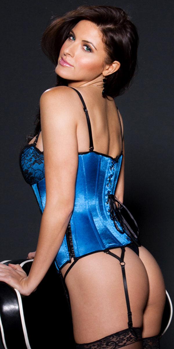azure and black sweetheart bustier with g-string sexy women's lingerie