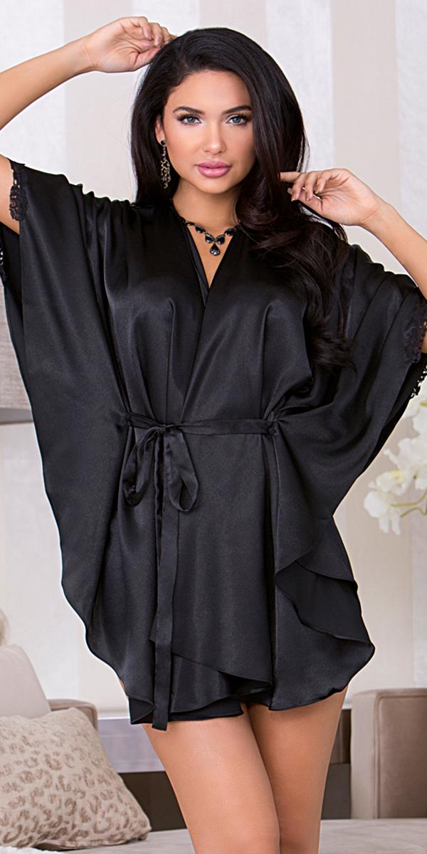 black batwing sleeve robe sexy women's sleepwear