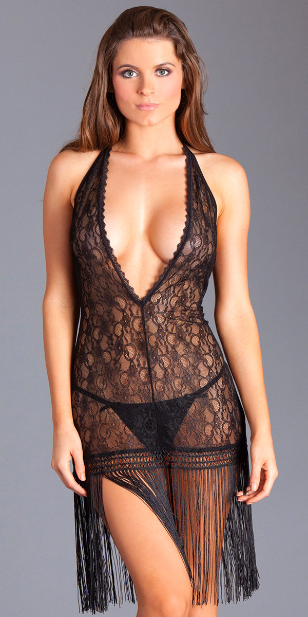 black lace dress with fringe bottom sexy women's nightdresses