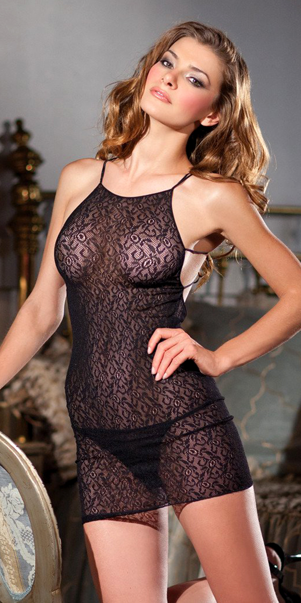 black lace halterneck mini dress with criss-cross back sexy women's nightwear