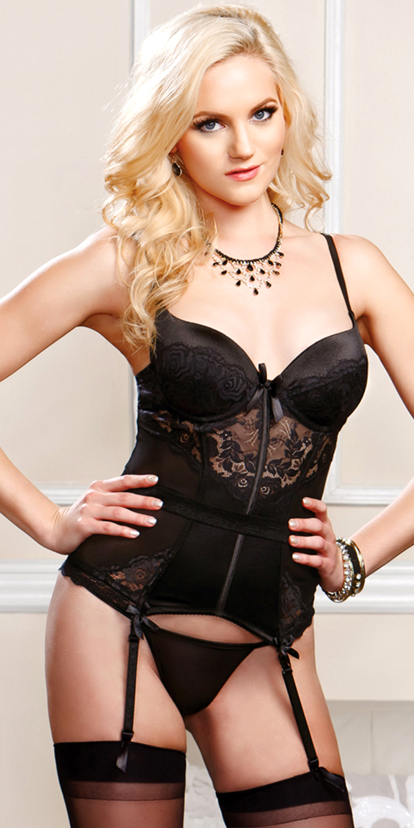 black scalloped lace and mesh bustier with g-string sexy women's lingerie