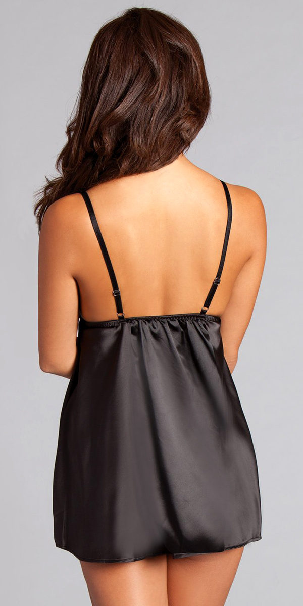 black split-front satin and lace babydoll sexy women's lingerie
