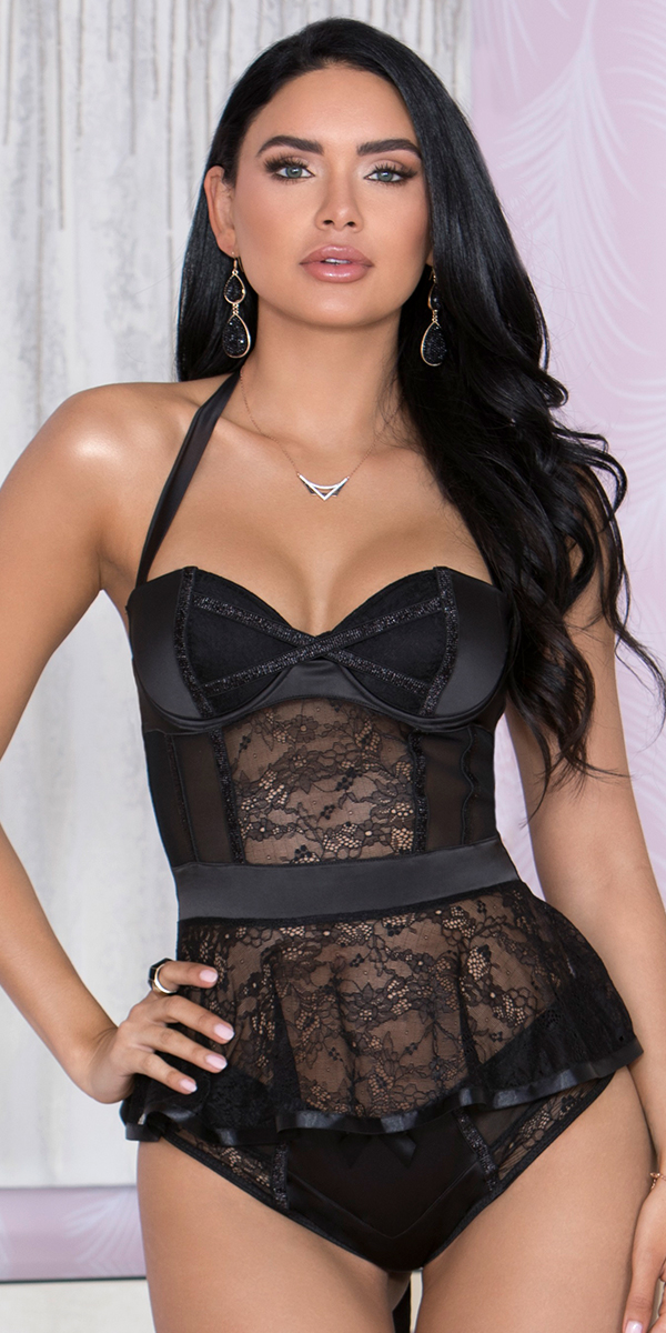 black stretch satin lace and mesh belted bustier sexy women's lingerie