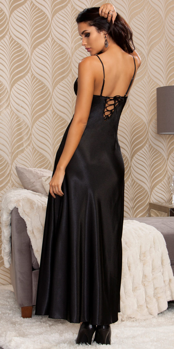 long lace trimmed satin gown sexy women's sleepwear