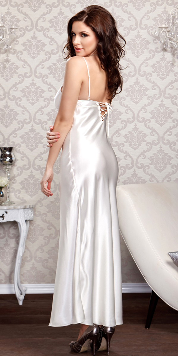 long lace trimmed satin gown sexy womens loungwear