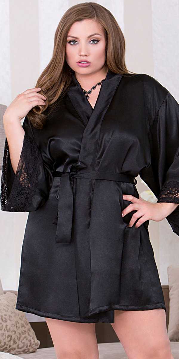 plus size black three-quarter sleeve robe sexy women's sleepwear