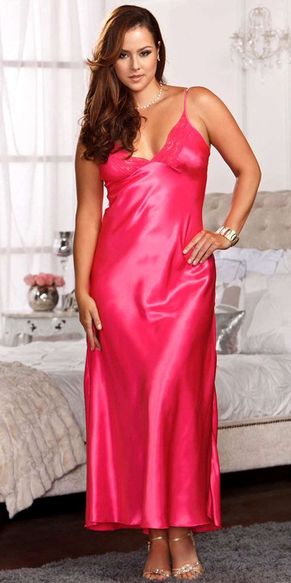 plus size long lace trimmed satin gown sexy women's sleepwear