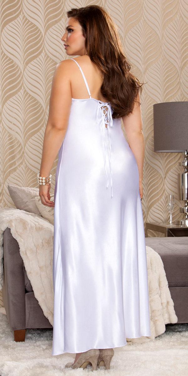 plus size long lace trimmed satin gown sexy women's sleepwear