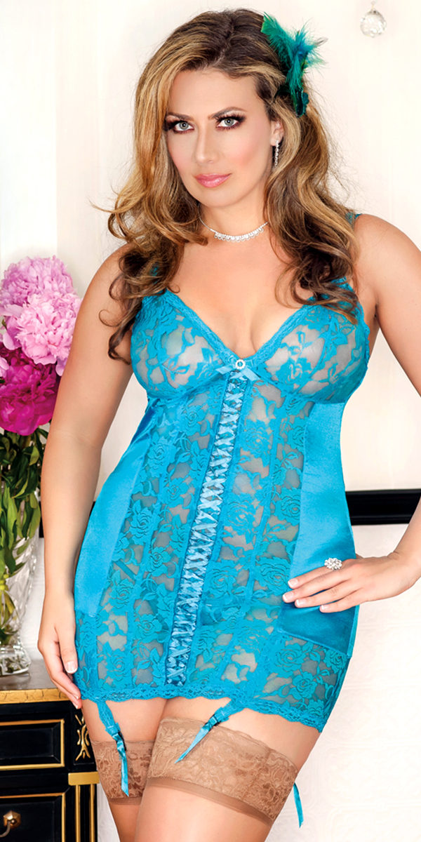 plus size satin and floral lace open back chemise with g-string sexy women's lingerie
