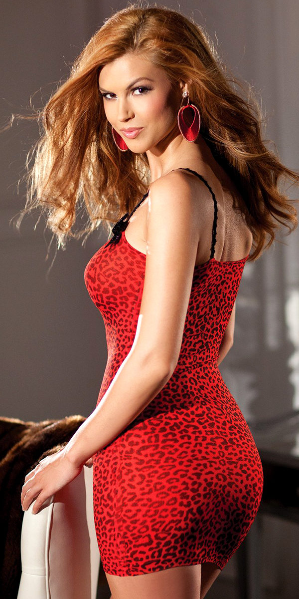 red leopard print mini dress sexy women's clothing