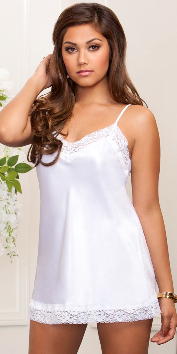 satin and floral lace chemise sexy women's lingerie