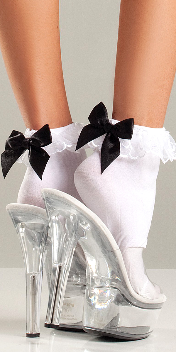 white ruffle-top and satin bow anklets