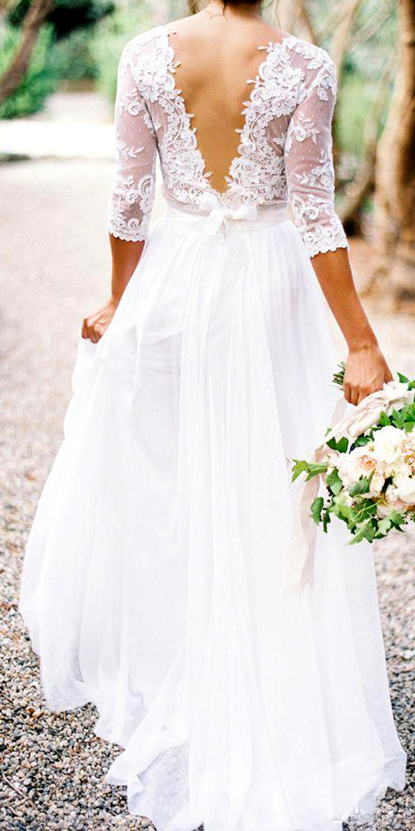 a-line chiffon beach country wedding dress sexy women's bridal gowns