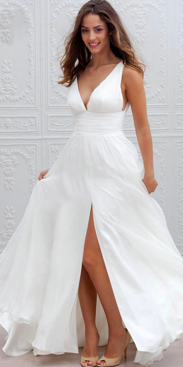 chiffon a-line wedding dress sexy women's bridal gowns