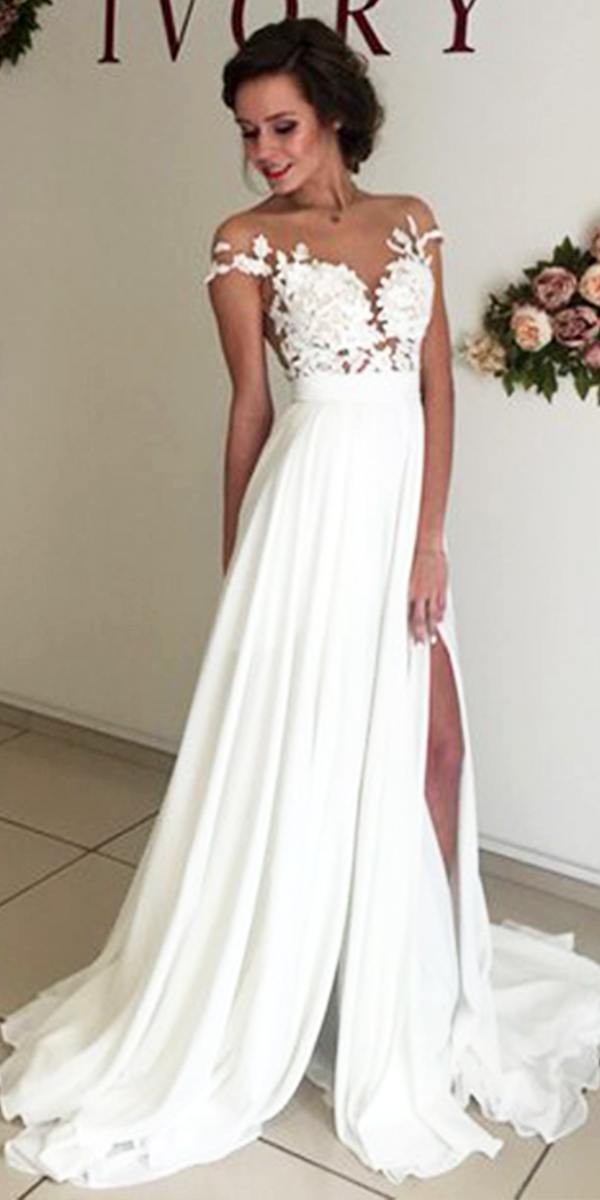 chiffon beach wedding dress sexy women's bridal gowns