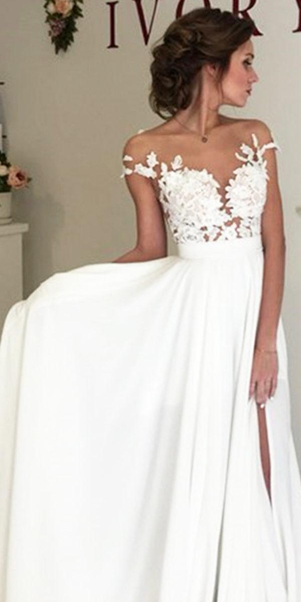 chiffon beach wedding dress sexy women's bridal gowns