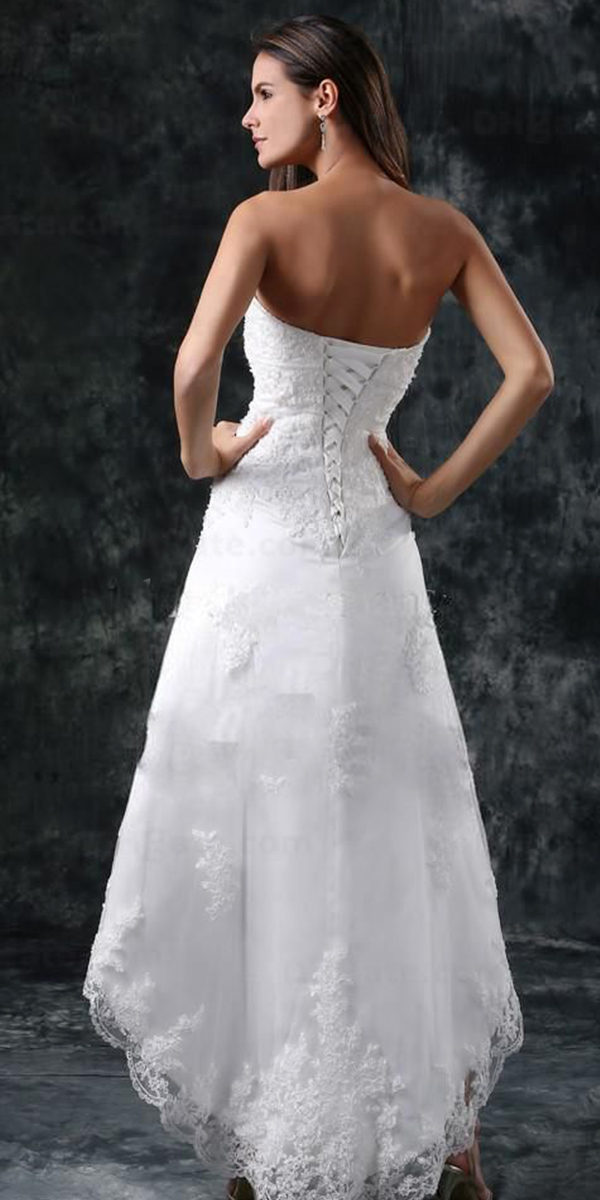 high low wedding dress with lace-up back sexy women's bridal gowns