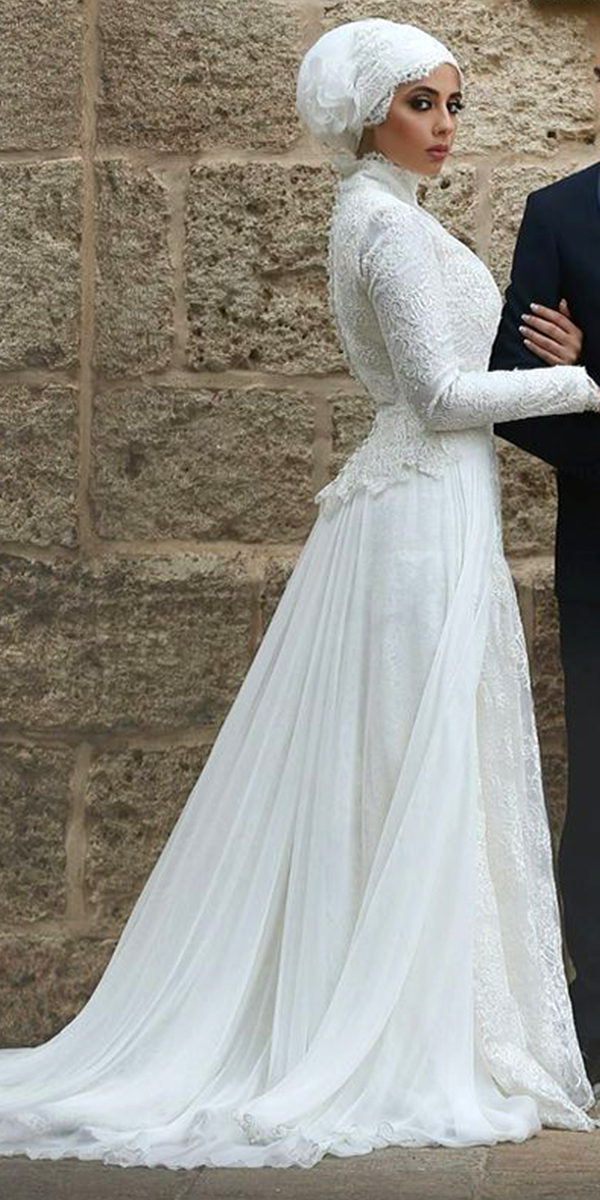 high neck muslim wedding dress sexy women's arabic bridal gown