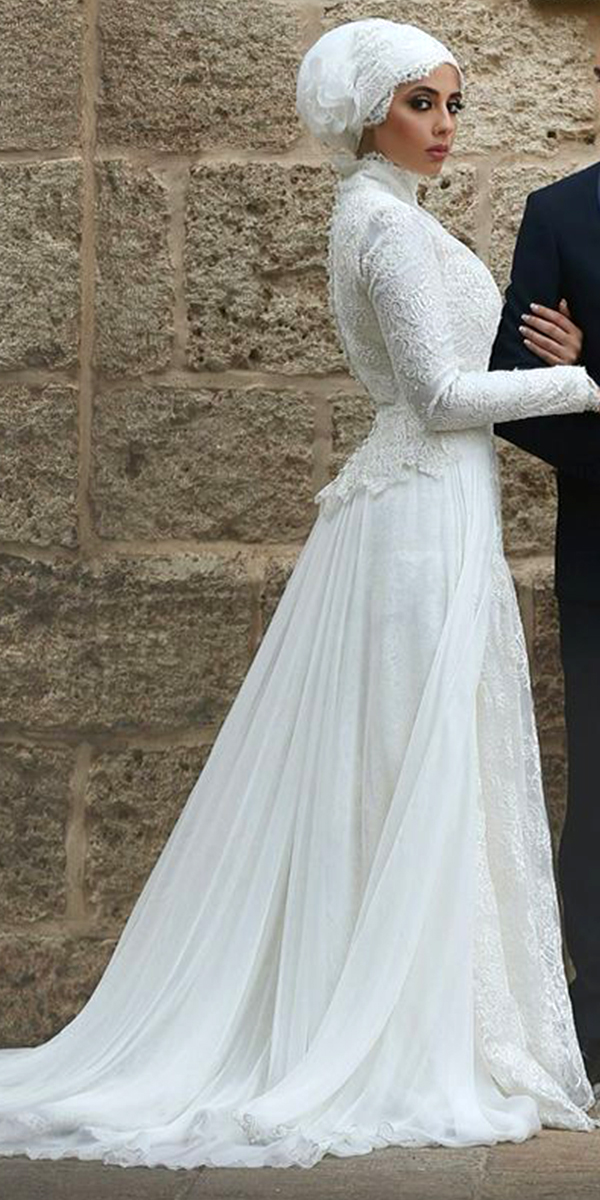 High Neck Muslim Wedding Dress