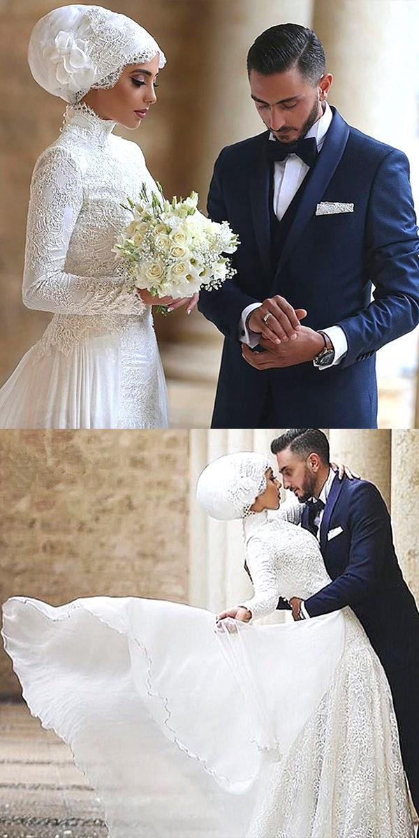 high neck muslim wedding dress sexy women's arabic bridal gown