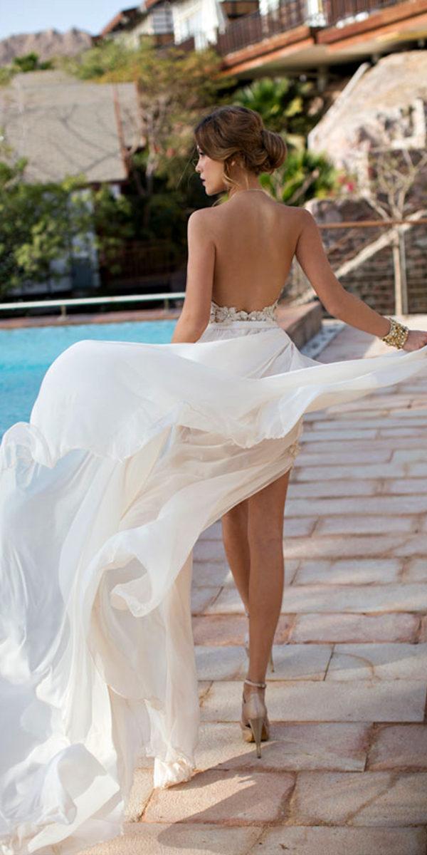 high slit lace chiffon a-line beach wedding dress sexy women's bridal gowns