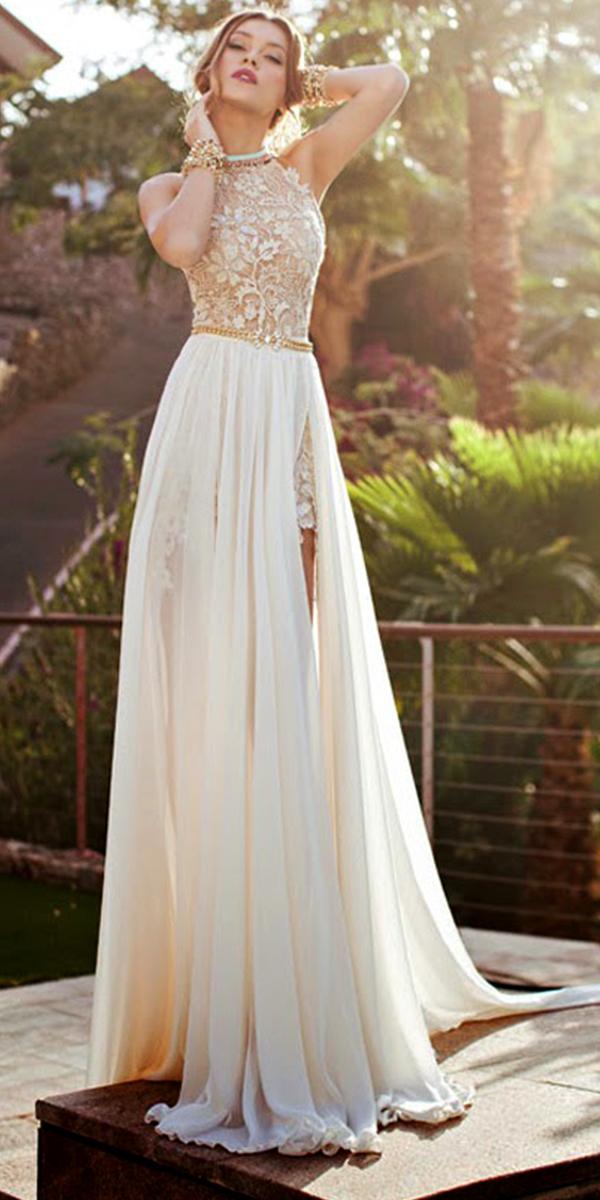High Slit Lace Chiffon A Line Beach Wedding Dress Sexy