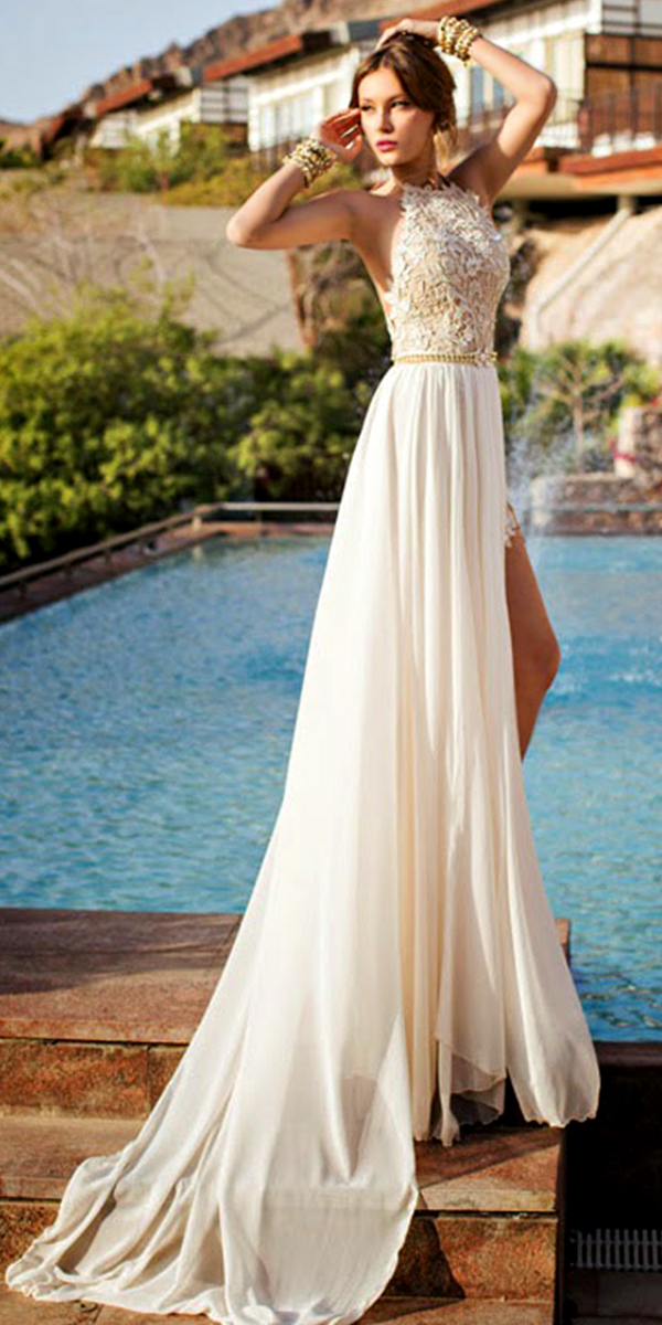 high slit lace chiffon a-line beach wedding dress sexy women's bridal gowns