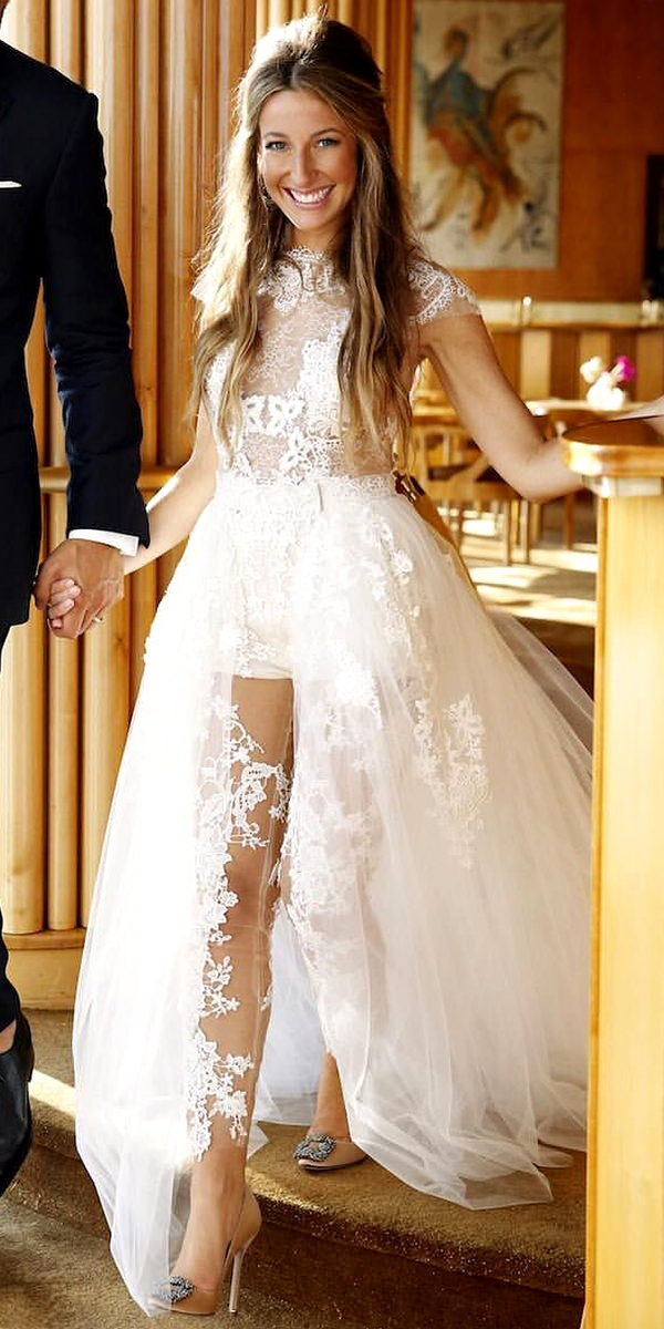 jumpsuit wedding dress with detachable train sexy women's bridal gowns