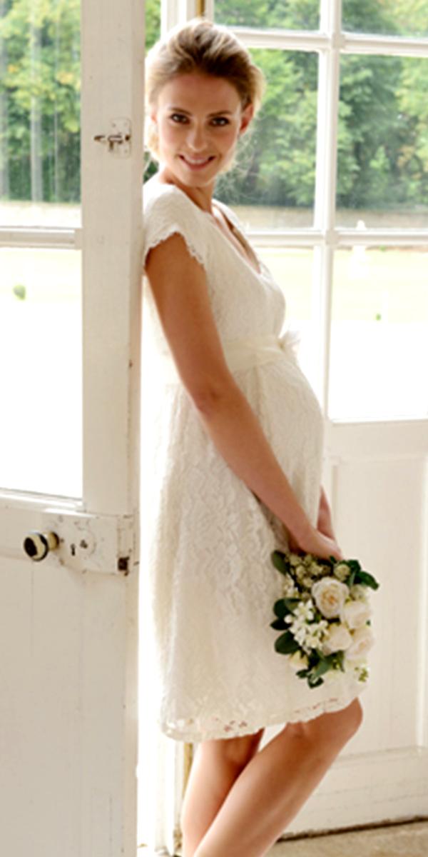 982aaccadb23 knee length empire waist maternity bridal gown sexy women's wedding dresses