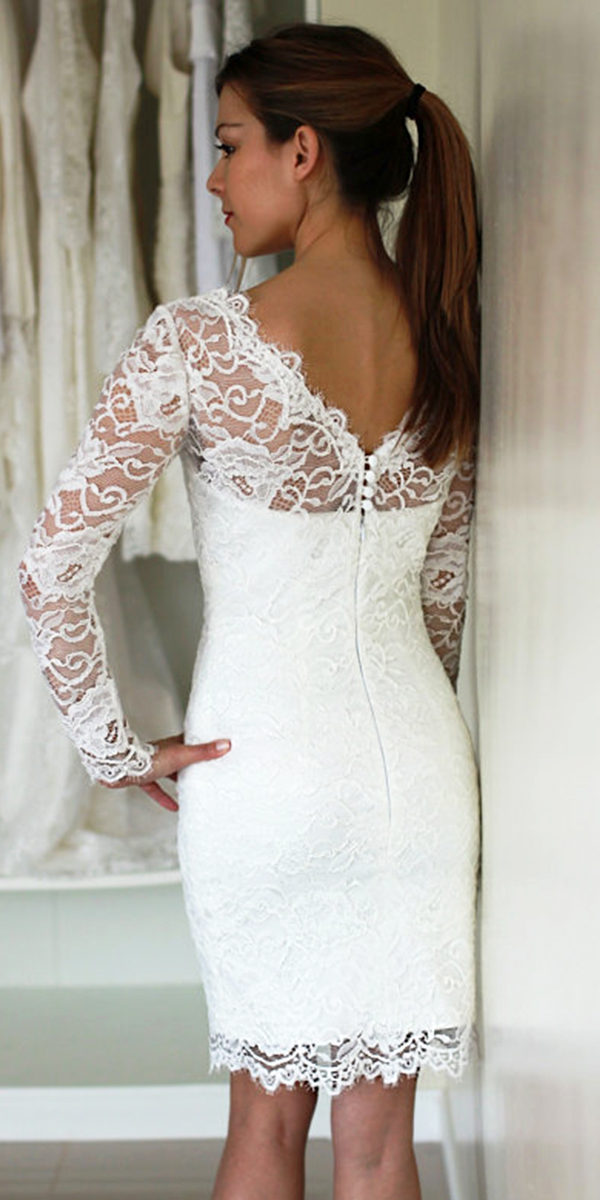knee-length sheath lace wedding dress sexy women's bridal gown cheap