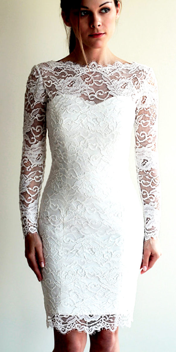 knee-length sheath lace wedding dress sexy women's bridal gown