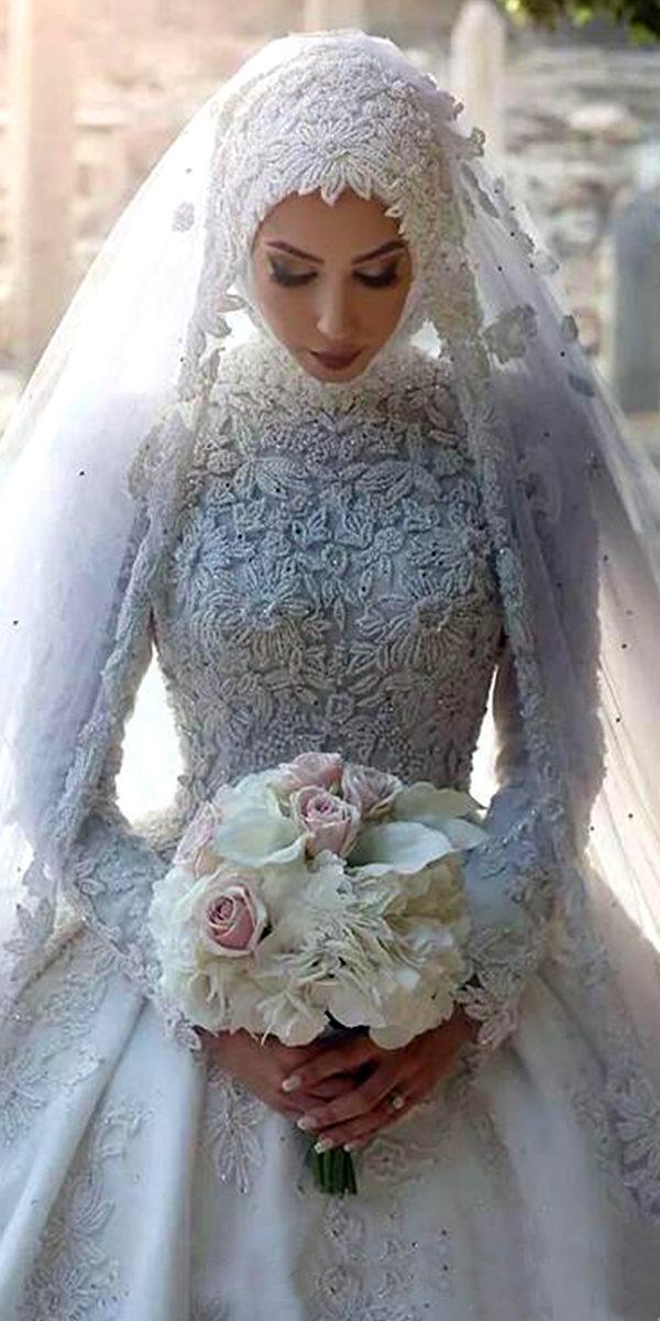 lace applique muslim ball gown wedding dress sexy women's bridal gowns arabic
