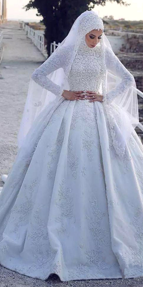 lace applique muslim ball gown wedding dress sexy women's bridal gowns arabic