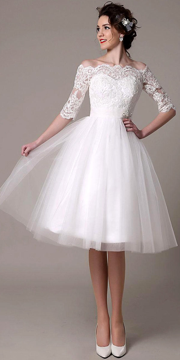 lace tulle knee-length wedding dress sexy women's bridal gown cheap