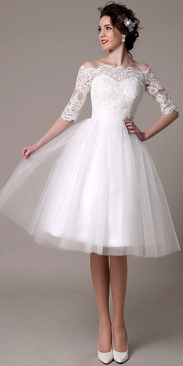Lace Tulle Knee-Length Wedding Dress | Women\'s Bridal Gown | Cheap