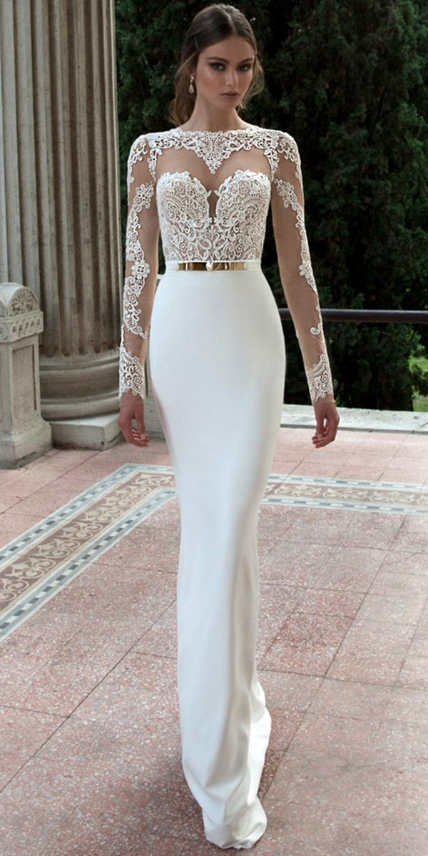 long sleeve crew neckline wedding dress sexy women's bridal gowns
