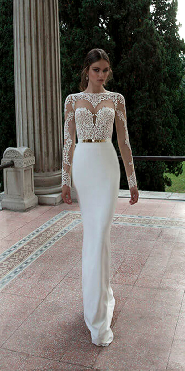 long sleeve crew neckline wedding dress with appliqués sexy women's bridal gowns cheap