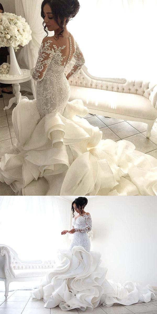long sleeve organza mermaid wedding dress sexy women's bridal gowns